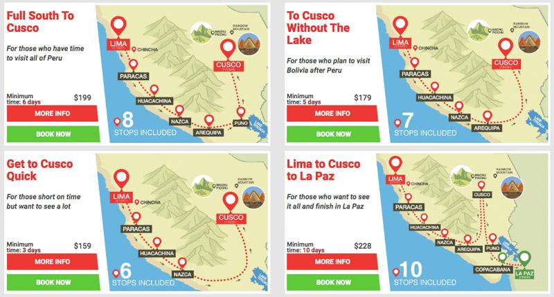 Peru Hop Itineraries Tour Stops