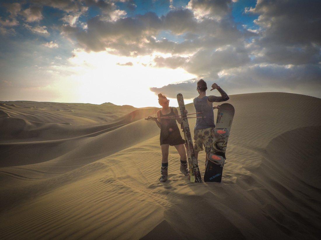 Sandboarding sandskiing Peru
