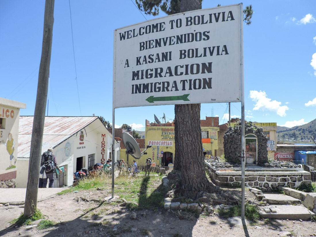 Bolivia Immigration Sign at Border Peru_