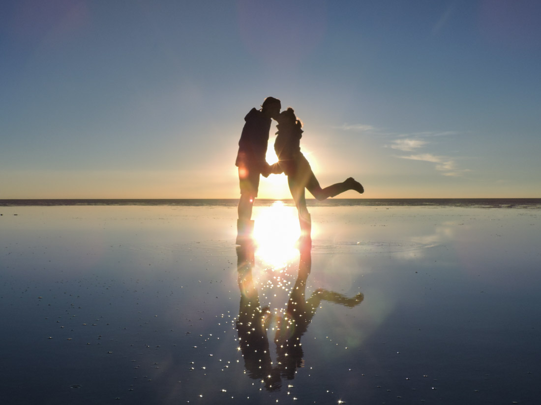 Couple Kissing Shadow Sunset Romantic Salt Flats Bolivia_