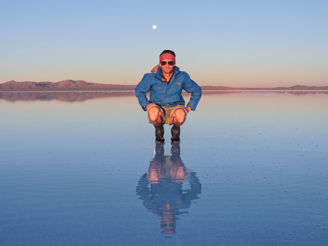 Man in wellies Salt Flats Bolivia packing lists_