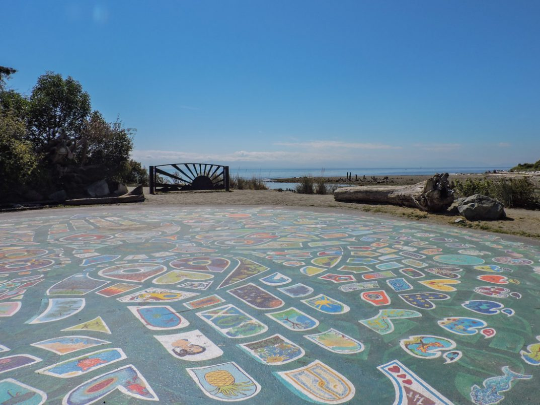Roberts Creek Mandala, blue skies, ocean
