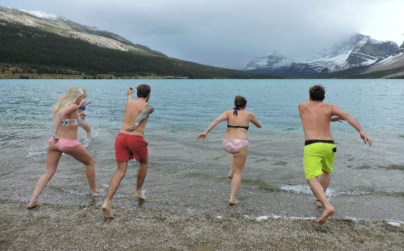 Bow Rockies Lake Polar Bear Swim West Trek Tours