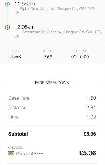 Uber Glasgow Uber App Example