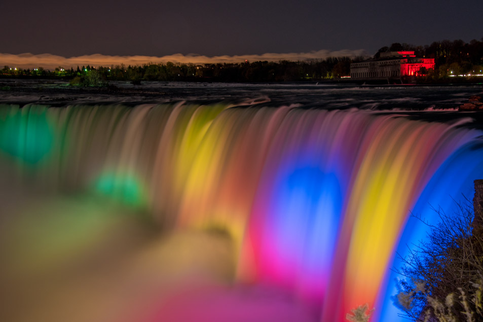 Niagara Falls at night with colour