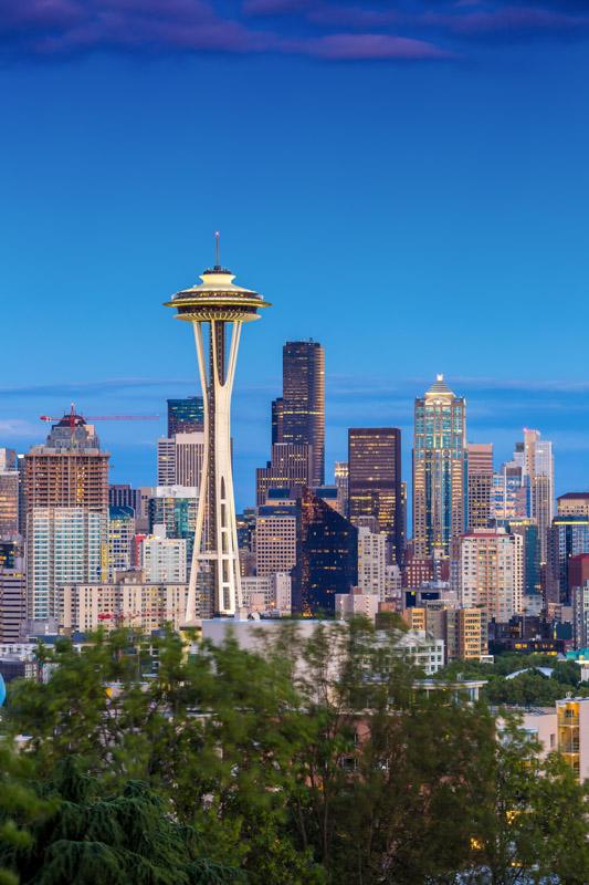 Seattle skyline against a blue sky