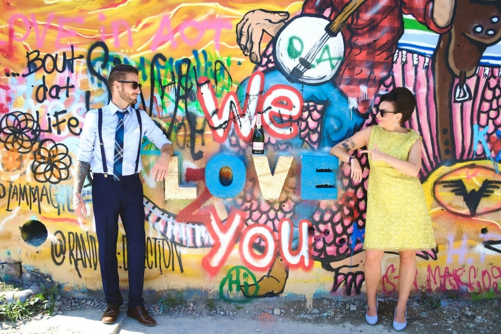 Castle Hill, Austin, Street Art in An Austin Elopement - Corey Mendez Photography