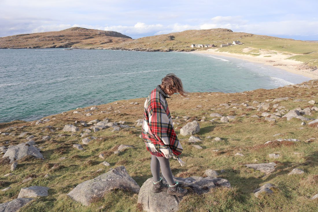 Luskentyre Beach Harris Scotland Gemma Blogger in Tartan