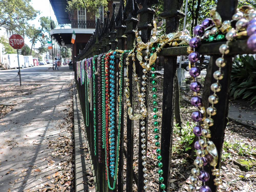 New Orleans beads on gate