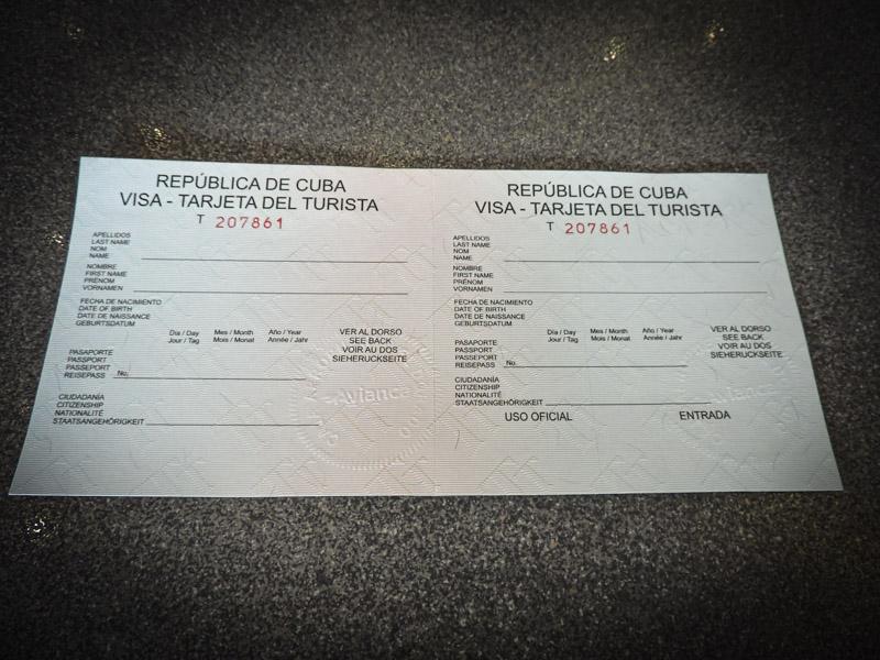 Cuba Visa Tourist Card