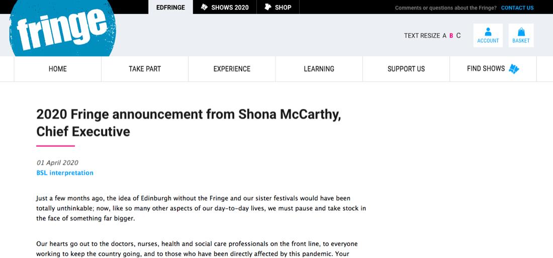 Edinburgh Fringe Cancelled