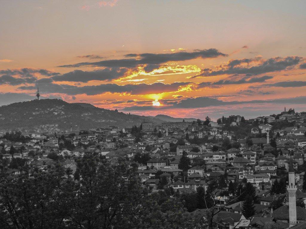 Sunset over Sarajevo Bosnia from Yellow Fort I Sarajevo