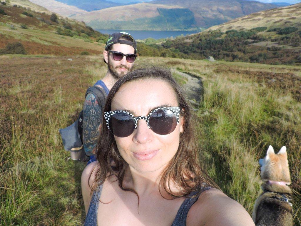 Gemma, Craig and Bowie Hiking Ben Vorlich