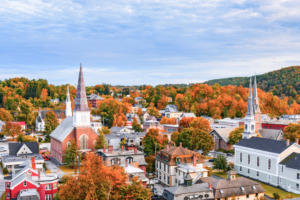Montpelier Vermonth skyline with fall colors