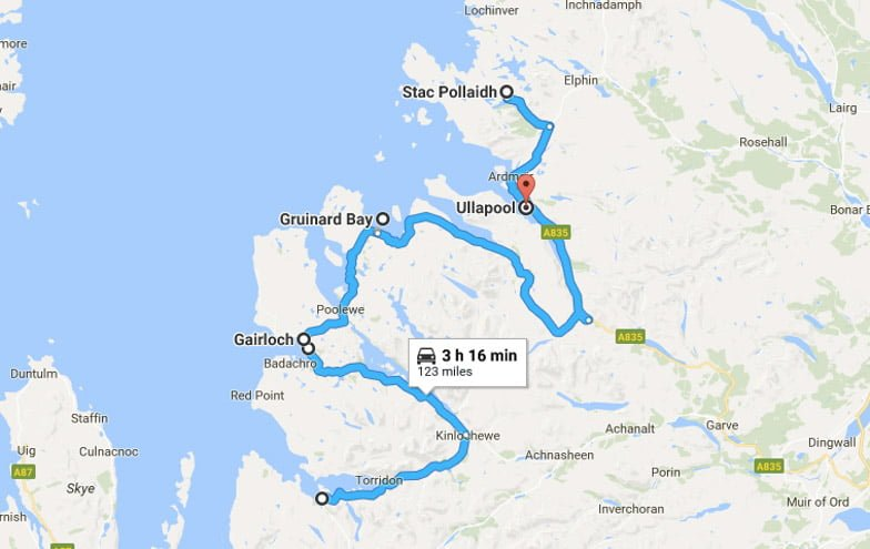 North Coast 500 Itinerary Route Torridon to Ullapool