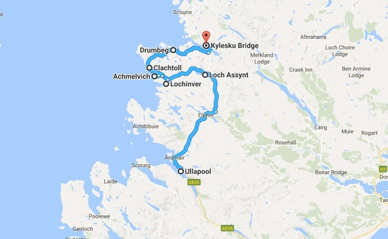 North Coast 500 Itinerary Route Ullapool to Kylesku Bridge
