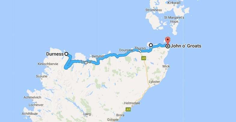 North Coast 500 Itinerary Route Durness - John o Groats