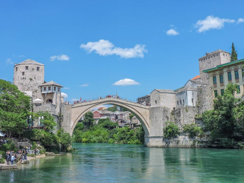Stari Most Mostar Bridge over blue water