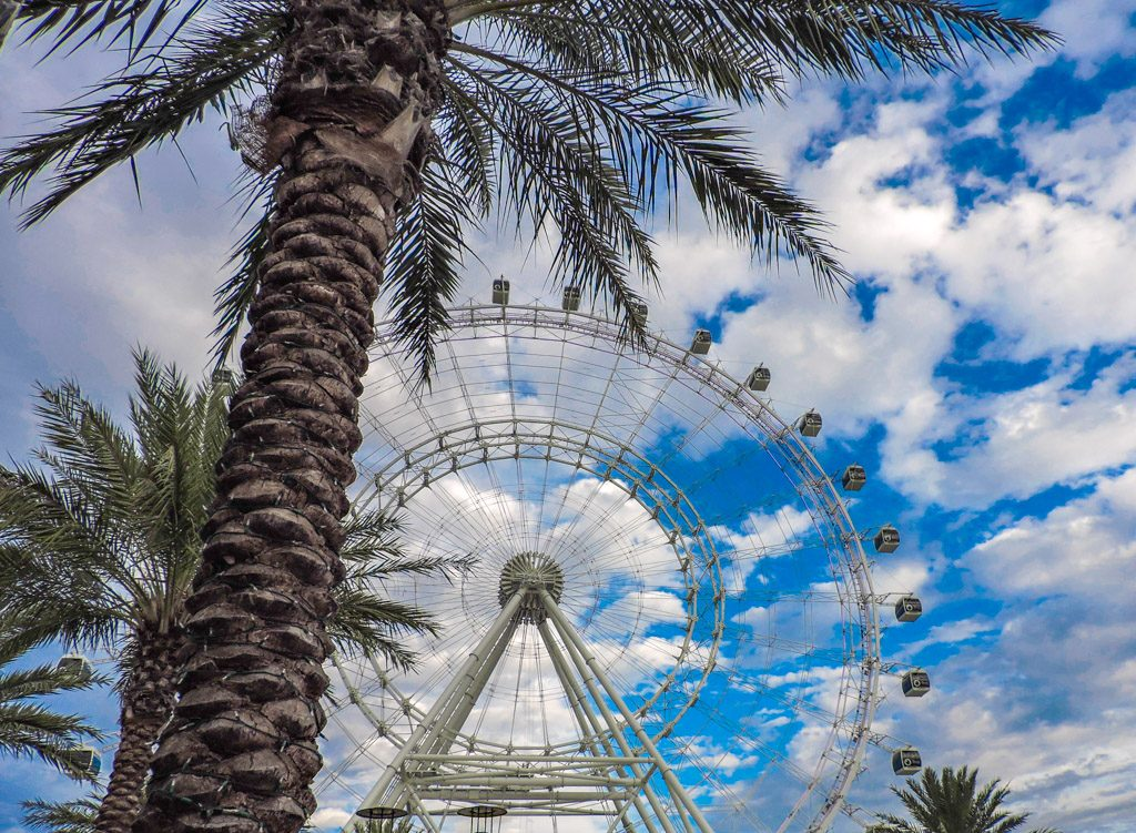 International Drive, Orlando palm trees and big wheel
