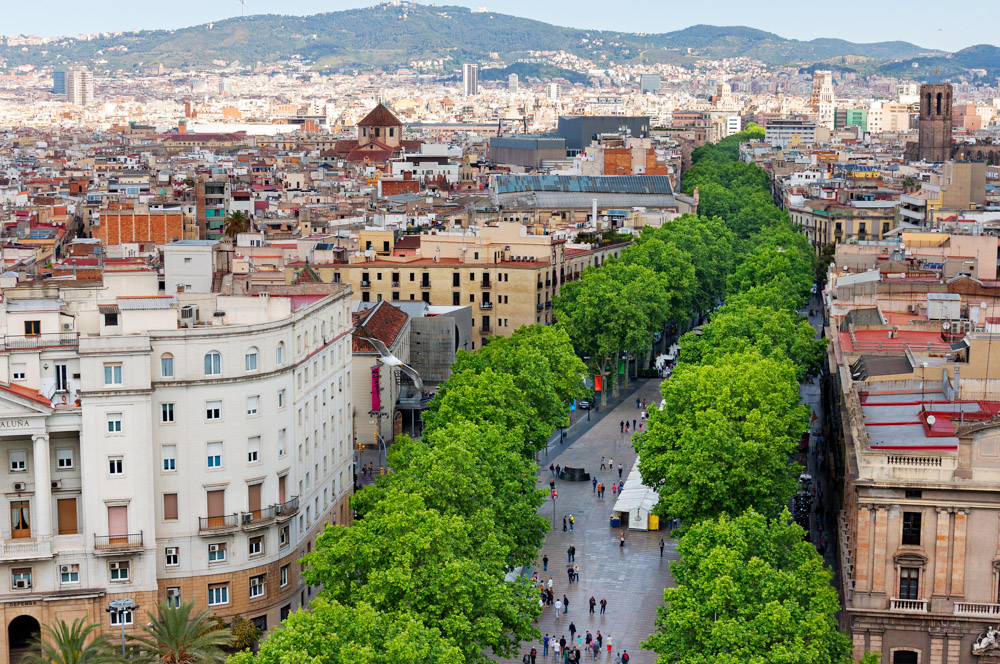 Las Ramblas of Barcelona, Aerial view3 days in Barcelona Itinerary