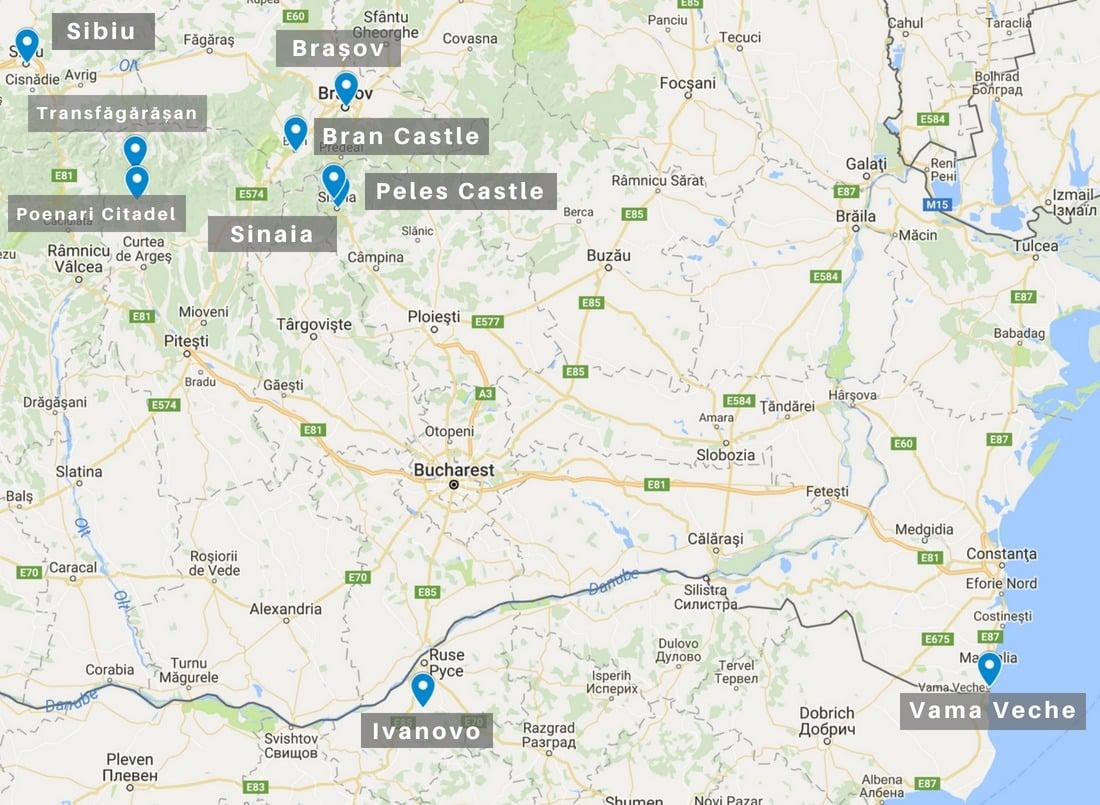 Bucharest Day Trips Map | Romania Road Trip
