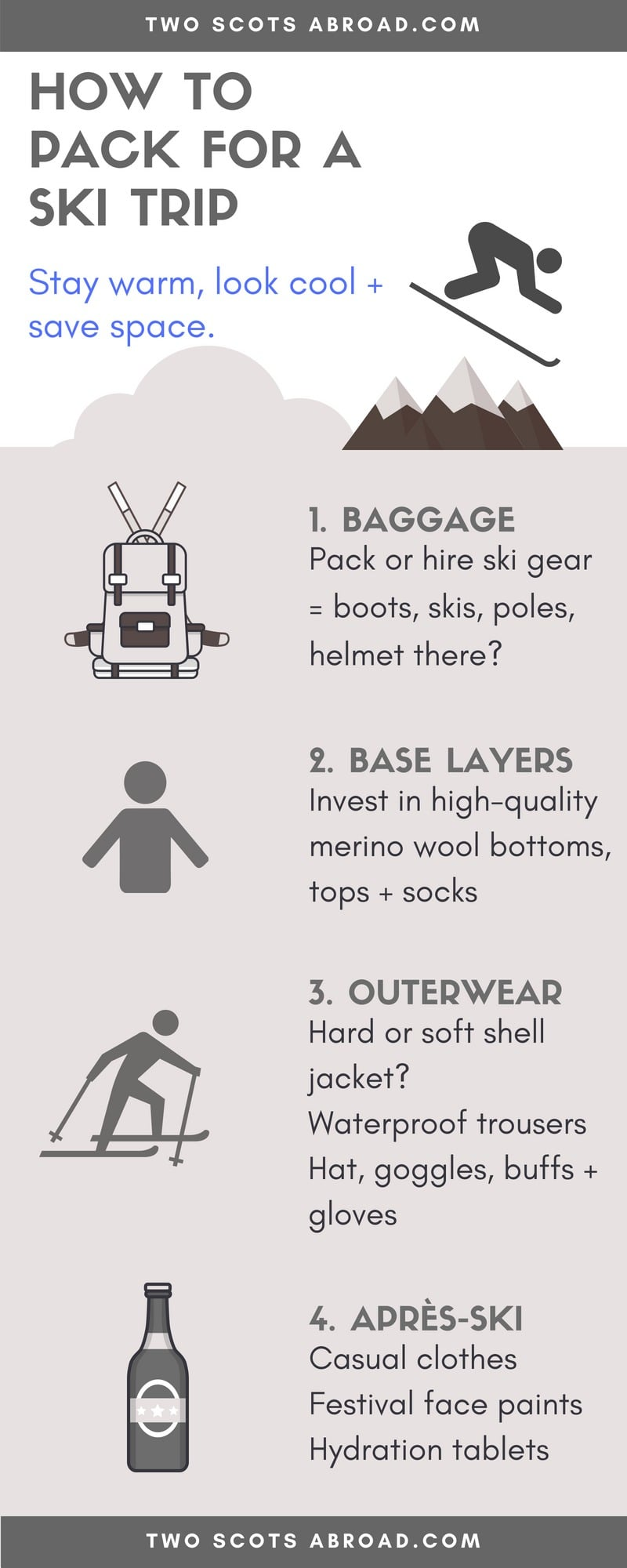 How to pack for a ski trip - Ski packing list