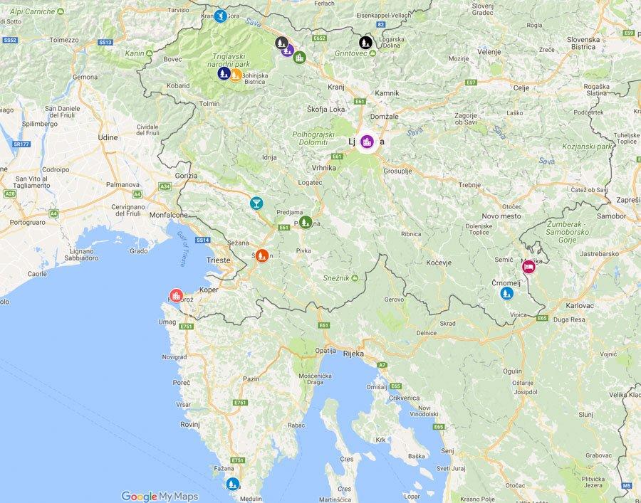Ljubljana Day Trips Slovenia Map