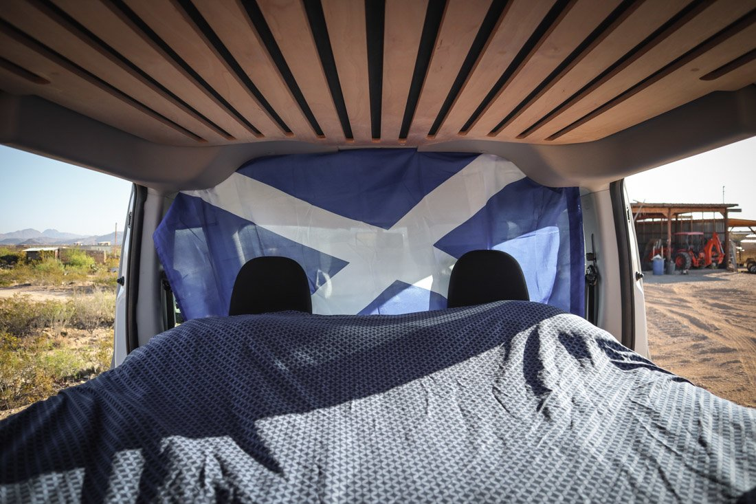 Camper van with Saltire flag