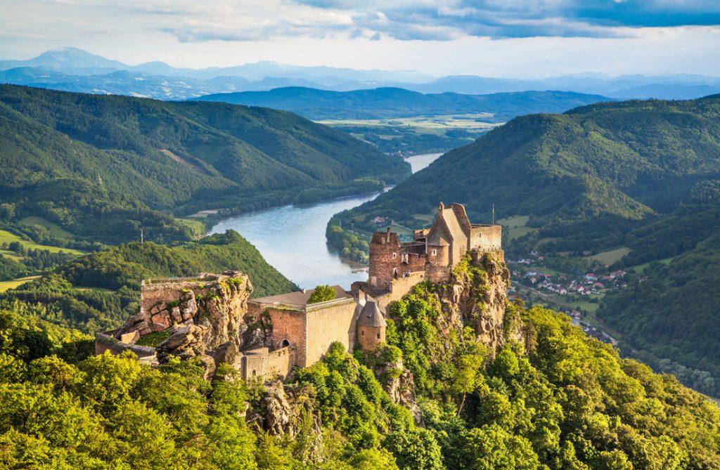Aggstein castle ruin and Danube river at sunset in Wachau, Austria