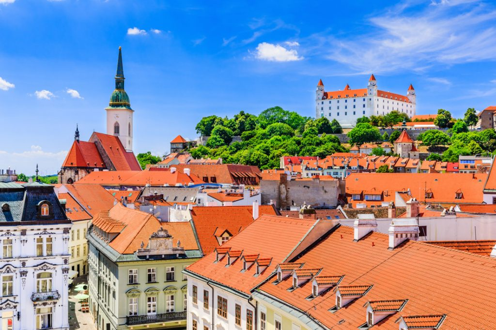 Bratislava, Slovakia. View of the Bratislava castle, St. Martin's Cathedral
