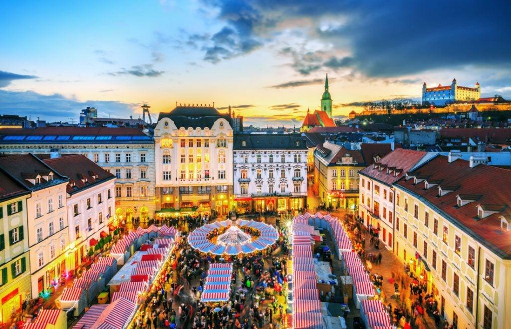 Bratislava main square and Christmas market in historical center of Bratislava city, Slovakia_