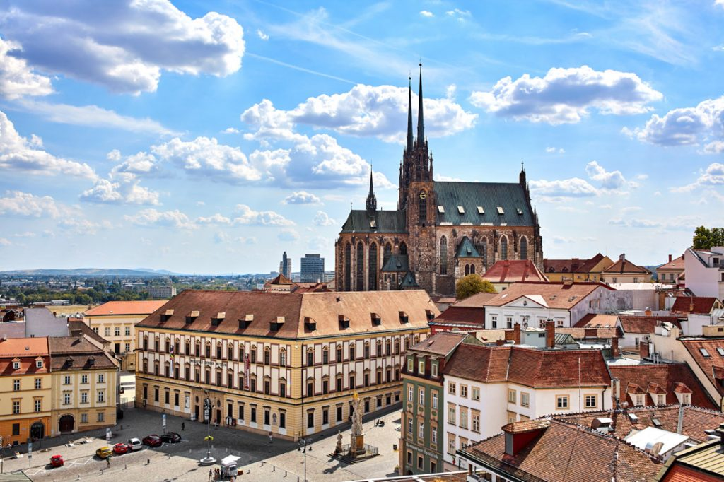 Brno old town and Cathedral of St. Peter and Paul in Brno, Czech Republic