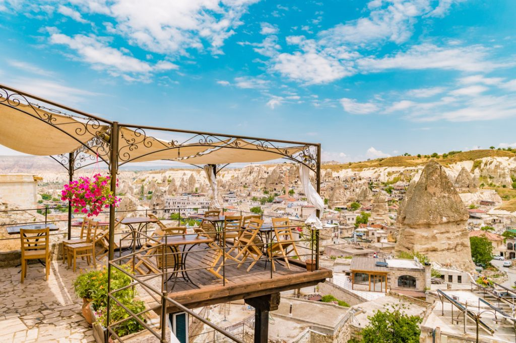 Cave Hotel Terrace Cappadocia Turkey Valley_