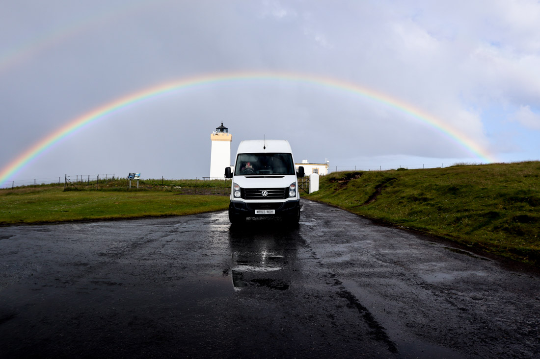 Duncansby Lighthouse Rainbow Campervan North Coast 500 Scotland_