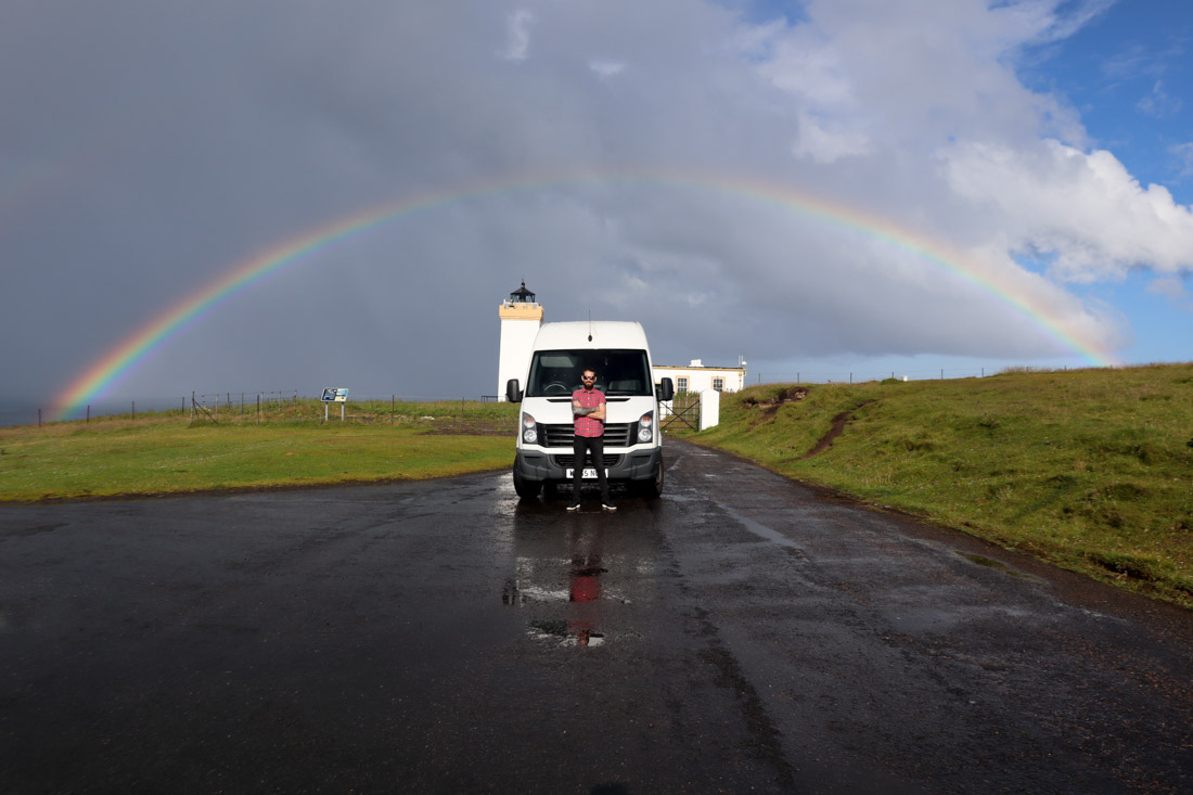 Duncansby Lighthouse Rainbow Craig Campervan North Coast 500 Scotland_