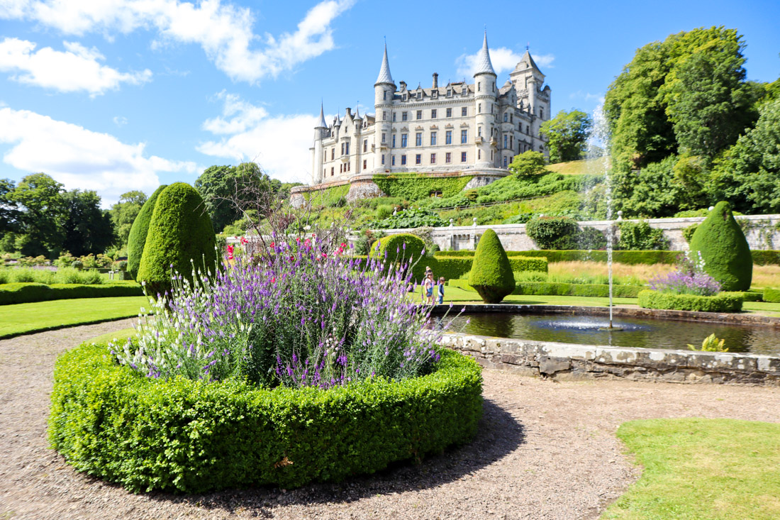 Dunrobin Castle pond gardens North Coast 500 Scotland_