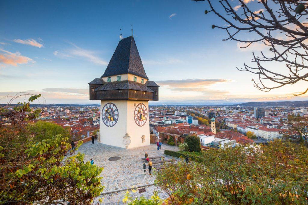 Graz with famous Grazer Uhrturm clock tower