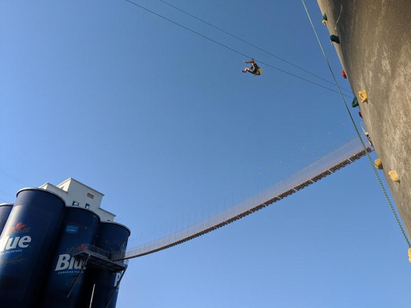 Buffalo USA zipline, blue sky