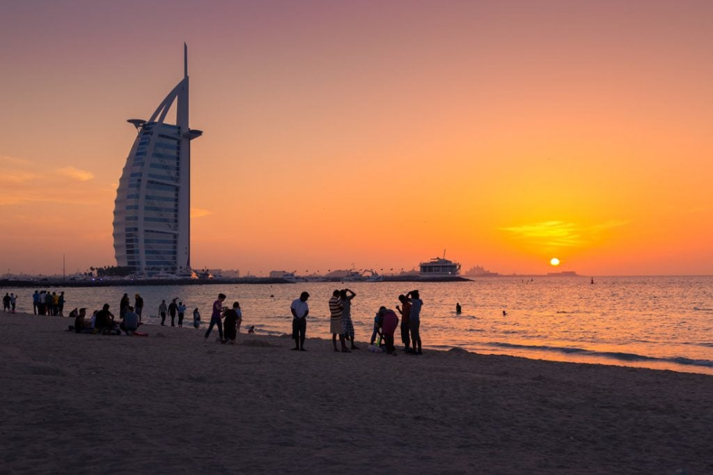 Burj Khalifa Dubai Sunset Beach People