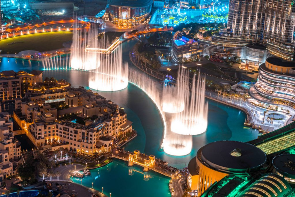 Dubai Fountain Show at night, birds eye view