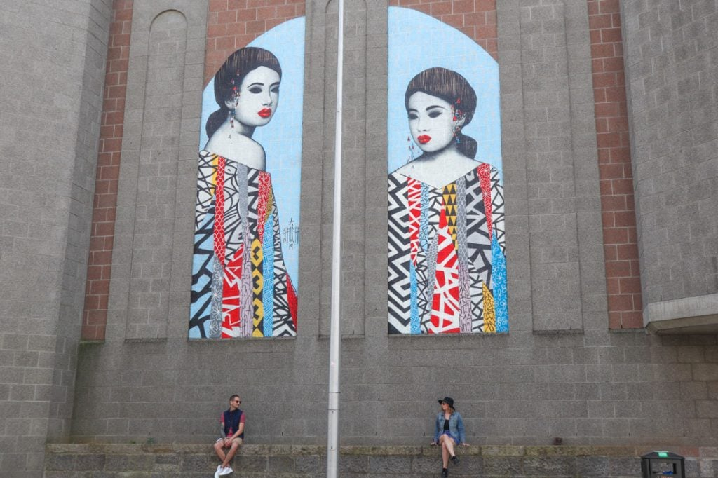 Hush two girls mural and Two Scots Abroad sitting