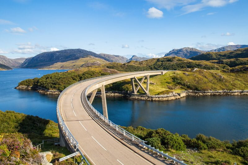 Kylesku Bridge, blue sky, hills, Scotland_