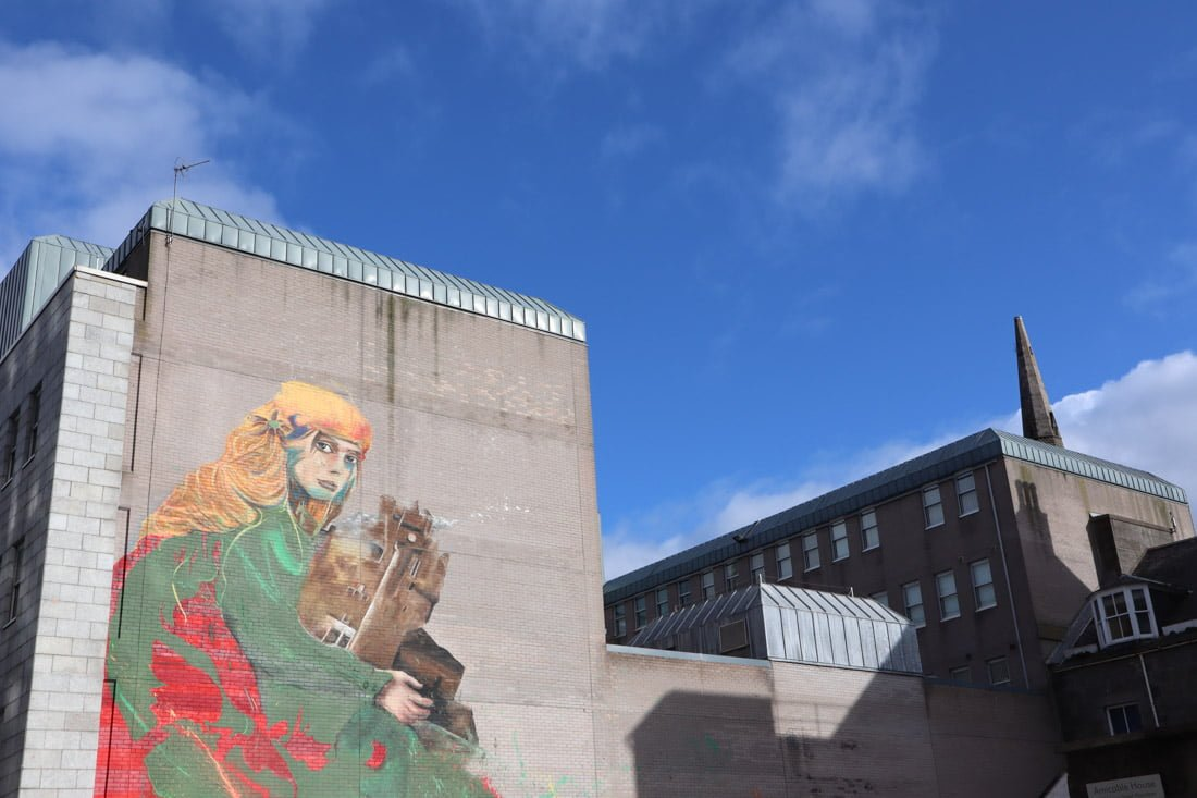 Nimi and RH74 Union Row Street Art Aberdeen Girl Castle