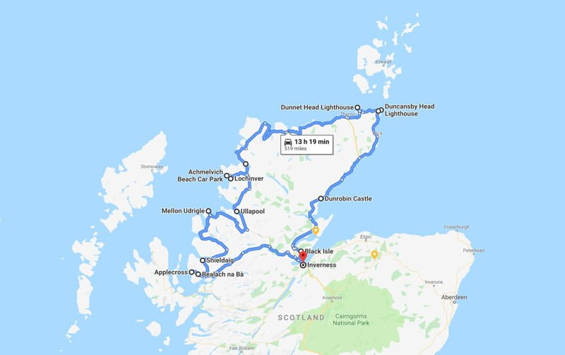 North Coast 500 Map NC500 route Scotland