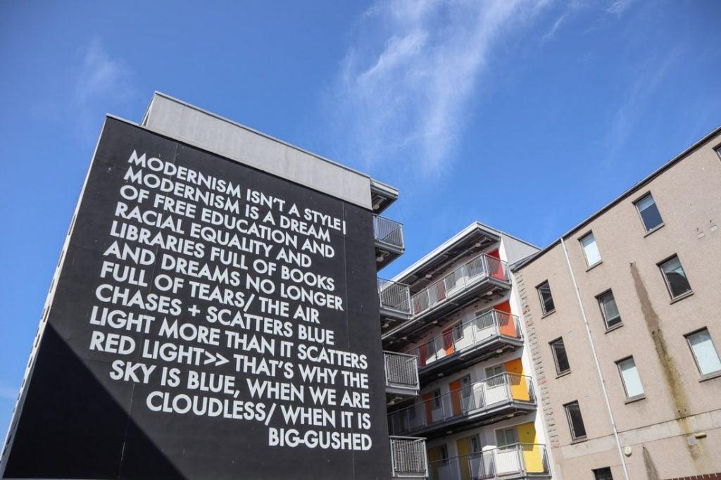 Robert Montgomery poem on wall Nuart Aberdeen_