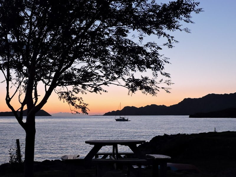 Sunset, boat, Sheildaig, Scotland, tree, bench, see