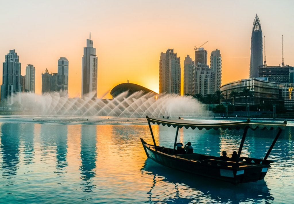 Traditional Arabian dhow boat Dubai sunset