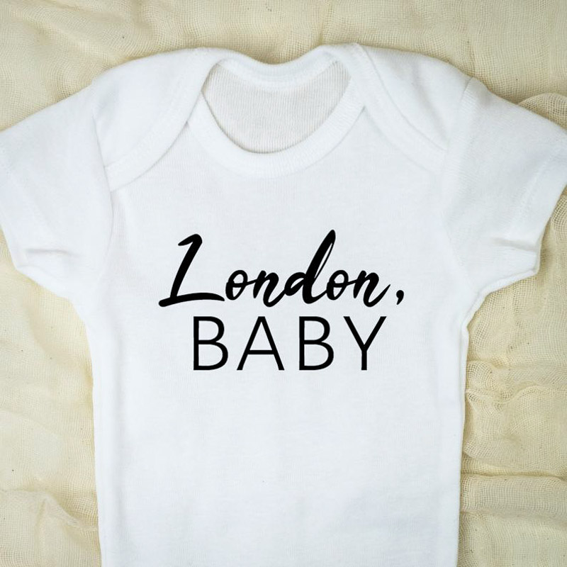 Baby vest, white with London baby text in black