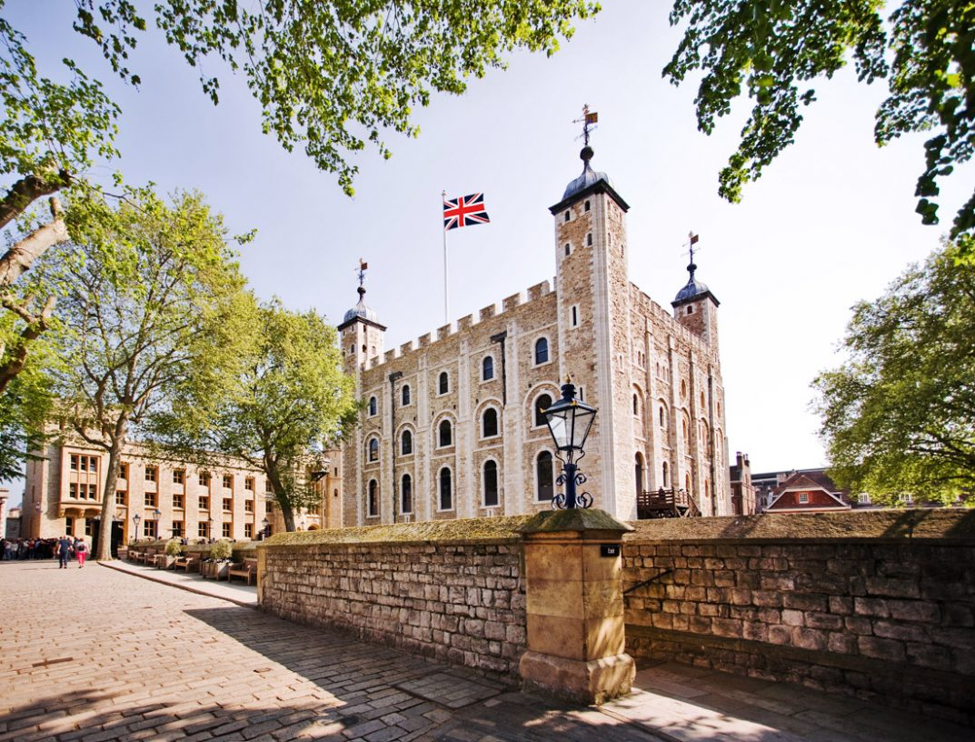 London gift experiences, London Tower, flags, blue skies