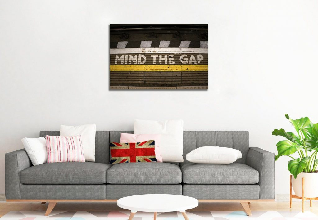 Mind the gap framed image. Black, white, yellow